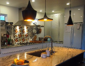 Cuban Cement Tile Pattern Warms Kitchen Backsplash