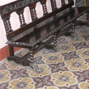 Cuban cement tile installation in a library in Old Havana, Cuba