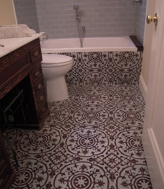 Cuban Heritage pattern CH140-2B extends the space of the bathroom when used on the floor and the base of the tub surround