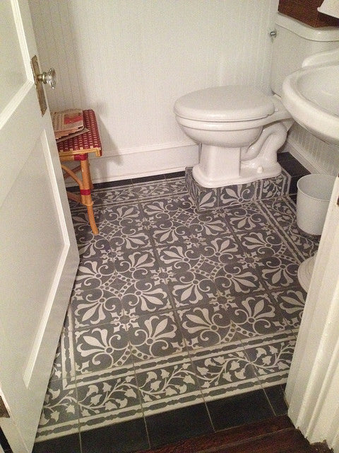 Cuban cement tile rug pattern in two shades of grey
