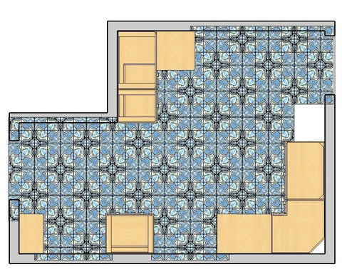 A Layout Plan Created by Avente Tile for a Residential Kitchen (CH110-2B Pattern)