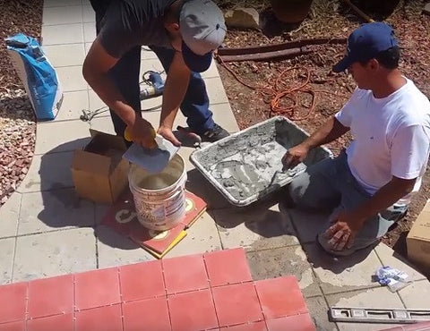 When using thinset mortar the back of the tile must be dampened