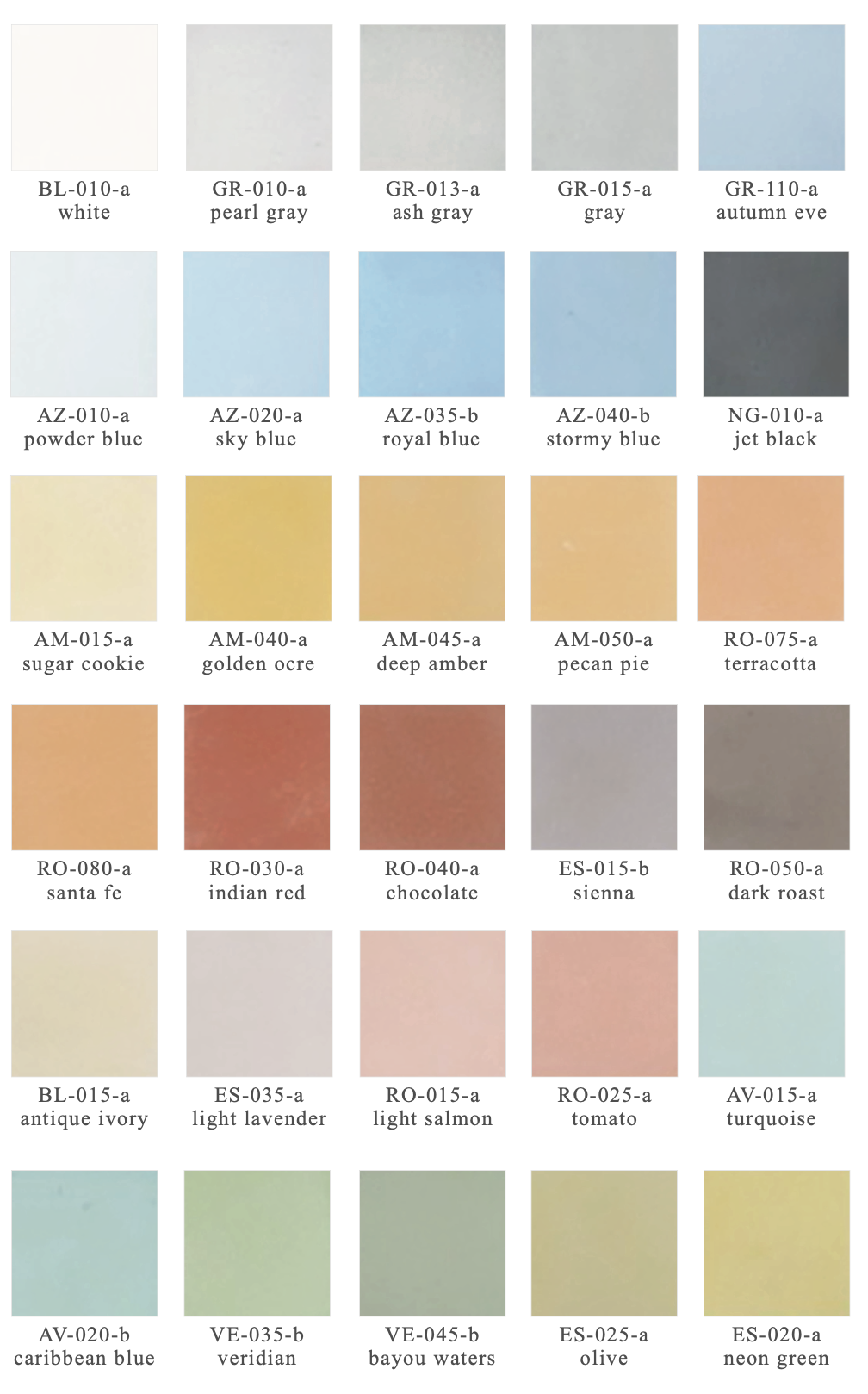Elevations Cement Wall Tile Color Board