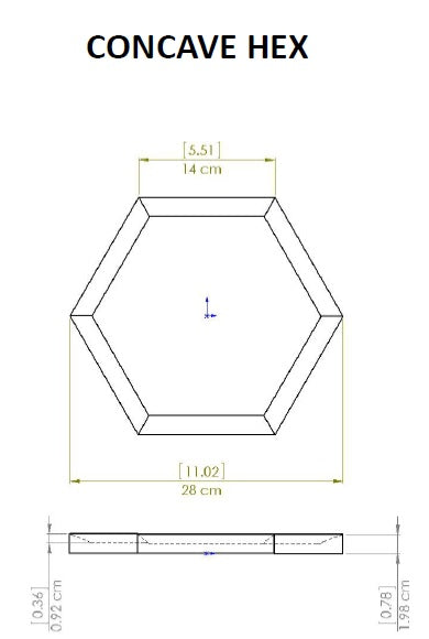 Elevations Concave Hexagon Dimensional Drawing