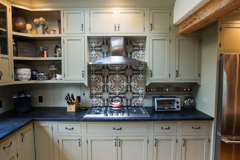 Example of Cement Tile Color Substitutions for Kitchen Backsplash using Cuban Pattern CH110