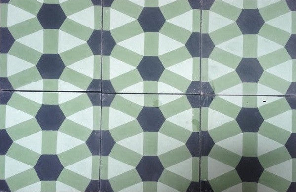 The Geometric Diamond Pattern was the choice for the bathroom