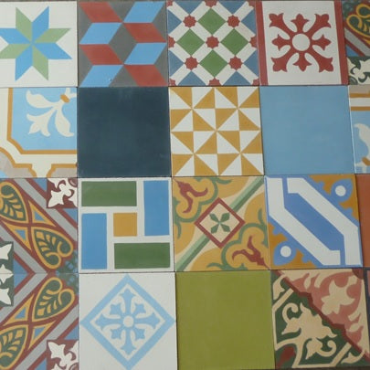 Typical Designs and Colors Found in a Patchwork Cement Tile Order