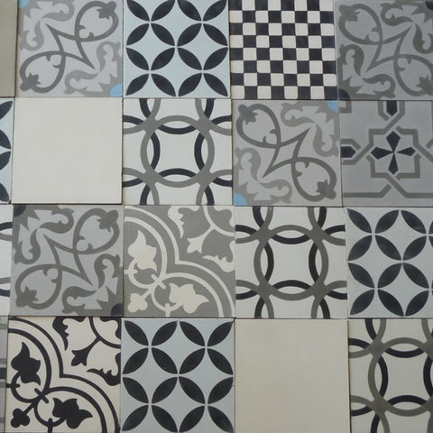 Typical Designs and Colors Found in the Heritage Neutral Patchwork Cement Tiles