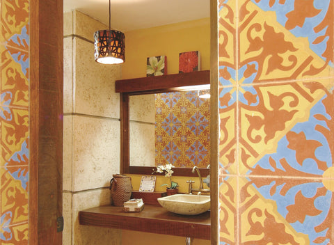 Heritage Traditional Alcala Cement Tile Adorns Powder Room Wall