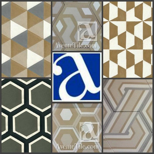 Large hexagon tile are available in different patterns.