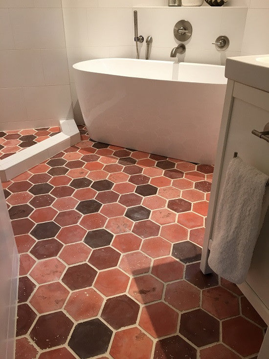 Hexagon Cement Tile in the Duoro Red Blend creates is stunning bathroom floor tile
