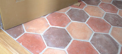 Hexagon Cement Tiles used in the Women's Restroom