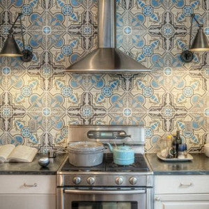 Kitchen Backsplash Focuses on Cuban Cement Tile