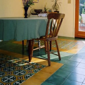 Make an Impact with a Cement Tile Floor Rug