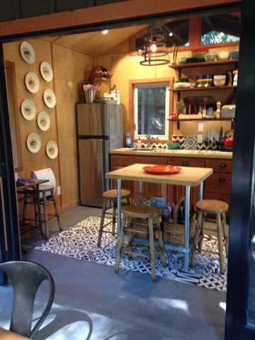 Mission Cement Tile Patchwork was used for this Russian River Getaway in Sonoma, California