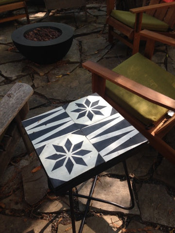 If you have extra cement tiles, use them for an side table