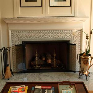 Monochromatic Cement Tile Fireplace