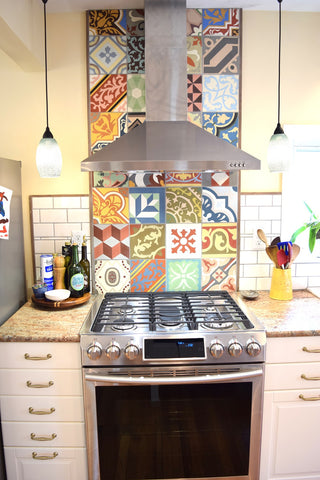 Traditional and Cuban Patterns were used in this Residential Backsplash