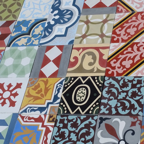 Another Example of a Colorful Cement Tile Patchwork