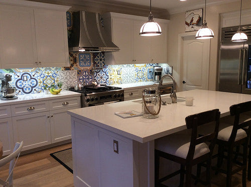 Patchwork designs create an eye-catching backsplash.