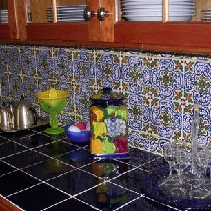 Portuguese Oporto Tile Embellishes a Kitchen Backsplash
