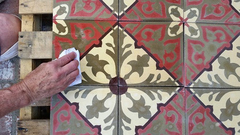 Pre-sealing cement tile prevents staining during installing, if pre-sealed or polished tiles are not available