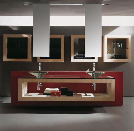 Red Floating Vanity with Glass Vessel Sinks.