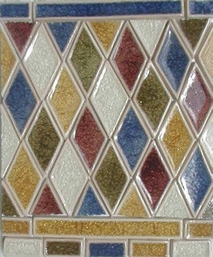 Rhomboid-Shaped Ceramic Tile Mosaic