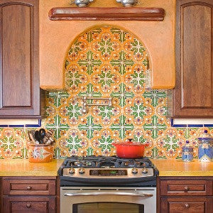 Spanish Kitchen Backsplash with San Jose Quarter Tile