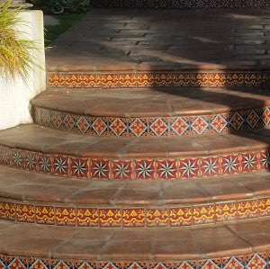 Spanish Pavers and Decorative Spanish Tile Risers Create Charm