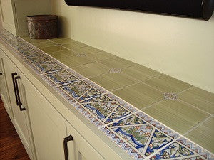 Spanish Tile Adorn Built-in Console Counter