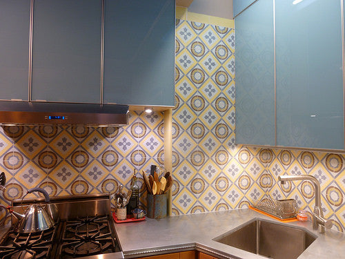 The scale of the cement tile pattern should match the space