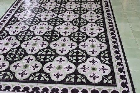 Traditional Fleur-de-Lis cement tile with Macoris border tile