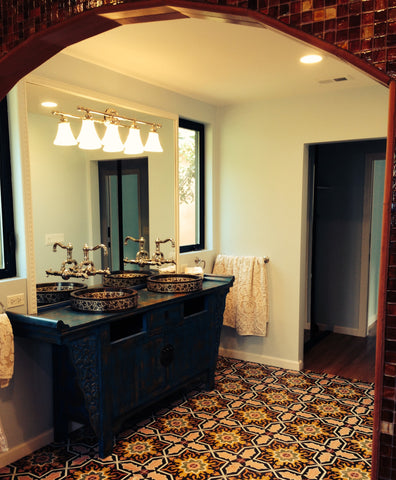 Traditional Melilla Cement Tile Pattern in Custom Colors for Bathroom Floor