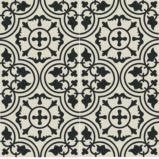 "Traditional Bayahibe Cement Tile (8"" x 8"" Polished, Black & White)"