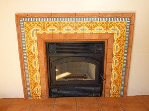 Warm Cuban Tile Border for Fireplace