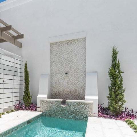 Mission Zebra Pattern in Two Colors Adorns Fountain Wall
