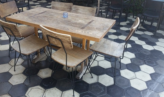The patio at Zinqué  Cafe in Los Angeles California us Hexagon Cement Tiles to create a hip vibe