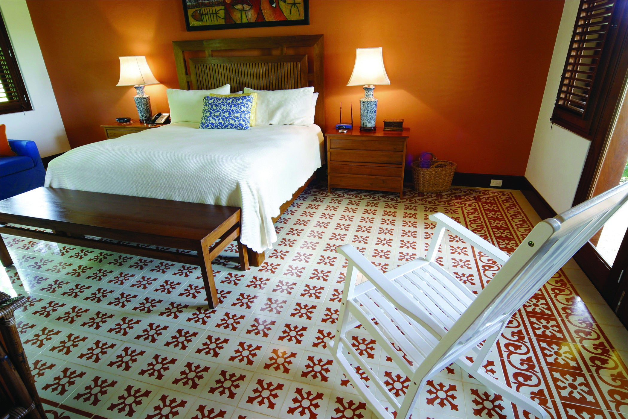 Encaustic cement tile flooring can be customized and is very durable