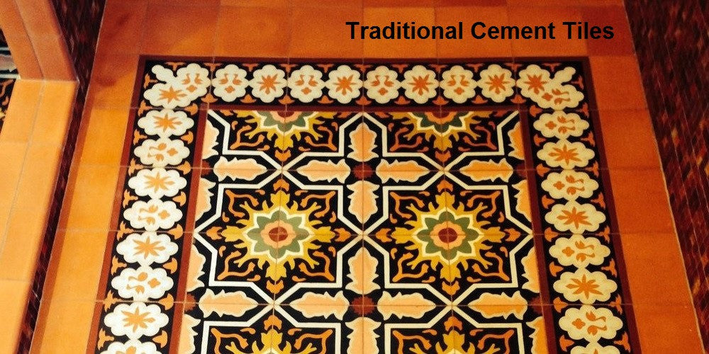 A tile rug using one of Avente's traditional cement tile pattern and border