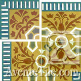 "Cuban Heritage Design 110 3B Outside Corner 8"" x 8"" Encaustic Cement Tile"