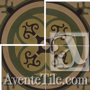 "Cuban Heritage Design 250 2B Cross 8""x8"" Encaustic Cement Tile"