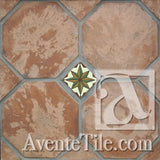 "Arabesque 8"" Octagon w/ dot Cement Tile"