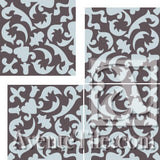 "Cuban Heritage Design 220 3B 8""x8"" Encaustic Cement Tile Quarter Design - 4 tiles"
