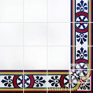 "Traditional Toledo Border Cement Tile 8"" x 8"" Cement Tile"
