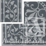 "Cuban Heritage Design 230 3A Border 8"" x 8"" Cement Tile"