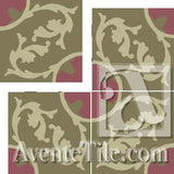 "Cuban Heritage Design 240 3A 8""x8"" Encaustic Cement Tile"