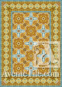 Cuban Heritage Design 110 3B Encaustic Cement Tile Rug