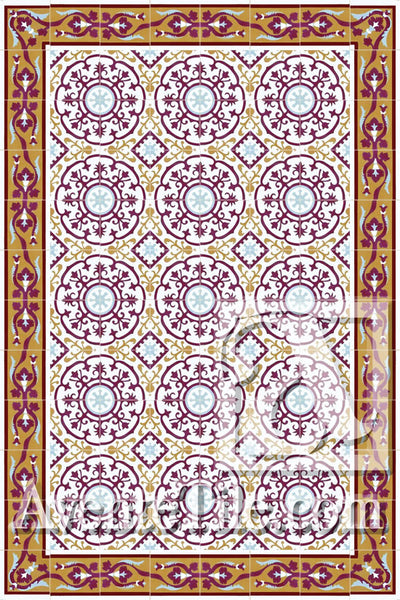 Cuban Heritage Design 140 1A Encaustic Cement Tile Rug