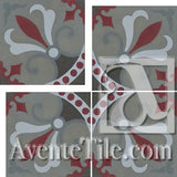 "Cuban Heritage Design 230 2A Cross 8"" x 8"" Cement Tile"